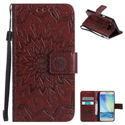 Embossing Sunflower Leather Wallet Case for Samsung Galaxy A5 2015 A500 - Brown