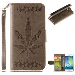 Intricate Embossing Maple Leather Wallet Case for Samsung Galaxy A5 2015 A500 - Gray