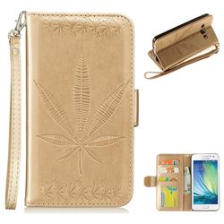 Intricate Embossing Maple Leather Wallet Case for Samsung Galaxy A5 2015 A500 - Champagne