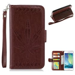 Intricate Embossing Maple Leather Wallet Case for Samsung Galaxy A5 2015 A500 - Brown