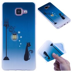 Street Light Cat 3D Relief Matte Soft TPU Back Cover for Samsung Galaxy A5 2016 A510
