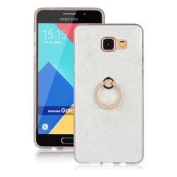Luxury Soft TPU Glitter Back Ring Cover with 360 Rotate Finger Holder Buckle for Samsung Galaxy A5 2016 A510 - White