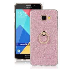 Luxury Soft TPU Glitter Back Ring Cover with 360 Rotate Finger Holder Buckle for Samsung Galaxy A5 2016 A510 - Pink