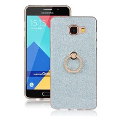 Luxury Soft TPU Glitter Back Ring Cover with 360 Rotate Finger Holder Buckle for Samsung Galaxy A5 2016 A510 - Blue