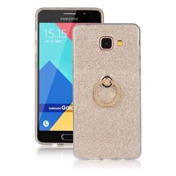 Luxury Soft TPU Glitter Back Ring Cover with 360 Rotate Finger Holder Buckle for Samsung Galaxy A5 2016 A510 - Golden