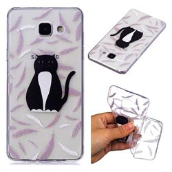 Feather Black Cat Super Clear Soft TPU Back Cover for Samsung Galaxy A5 2016 A510