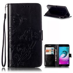 Embossing Butterfly Flower Leather Wallet Case for Samsung Galaxy A5 2016 A510 - Black