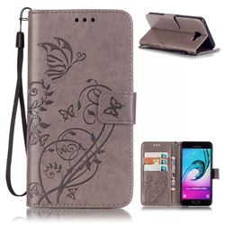 Embossing Butterfly Flower Leather Wallet Case for Samsung Galaxy A5 2016 A510 - Grey
