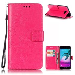 Embossing Butterfly Flower Leather Wallet Case for Samsung Galaxy A5 2016 A510 - Rose
