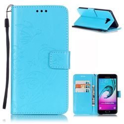 Embossing Butterfly Flower Leather Wallet Case for Samsung Galaxy A5 2016 A510 - Blue