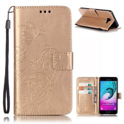 Embossing Butterfly Flower Leather Wallet Case for Samsung Galaxy A5 2016 A510 - Champagne