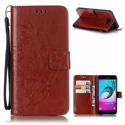 Embossing Butterfly Flower Leather Wallet Case for Samsung Galaxy A5 2016 A510 - Brown