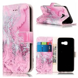 Pink Seawater PU Leather Wallet Case for Samsung Galaxy A5 2016 A510
