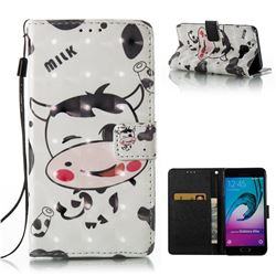 Milk Cow 3D Painted Leather Wallet Case for Samsung Galaxy A5 2016 A510