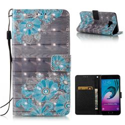 Blue Flower 3D Painted Leather Wallet Case for Samsung Galaxy A5 2016 A510