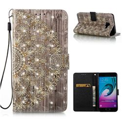 Golden Flower 3D Painted Leather Wallet Case for Samsung Galaxy A5 2016 A510