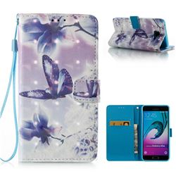 Butterfly Flower 3D Painted Leather Wallet Case for Samsung Galaxy A5 2016 A510
