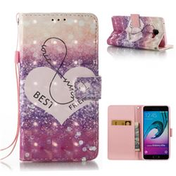 Heart Friend 3D Painted Leather Wallet Case for Samsung Galaxy A5 2016 A510