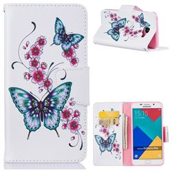 Peach Butterflies Leather Wallet Case for Samsung Galaxy A5 2016 A510