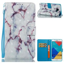 White Purple Marble 3D Painted Leather Wallet Case for Samsung Galaxy A5 2016 A510