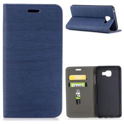 Tree Bark Pattern Automatic suction Leather Wallet Case for Samsung Galaxy A5 2016 A510 - Blue
