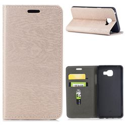 Tree Bark Pattern Automatic suction Leather Wallet Case for Samsung Galaxy A5 2016 A510 - Champagne Gold