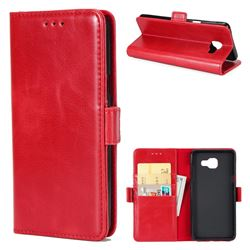 Luxury Crazy Horse PU Leather Wallet Case for Samsung Galaxy A5 2016 A510 - Red