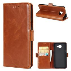 Luxury Crazy Horse PU Leather Wallet Case for Samsung Galaxy A5 2016 A510 - Brown