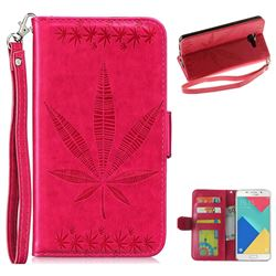 Intricate Embossing Maple Leather Wallet Case for Samsung Galaxy A5 2016 A510 - Rose