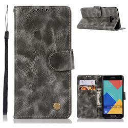 Luxury Retro Leather Wallet Case for Samsung Galaxy A5 2016 A510 - Gray