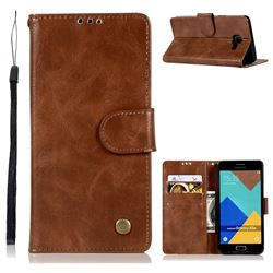 Luxury Retro Leather Wallet Case for Samsung Galaxy A5 2016 A510 - Brown