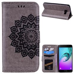 Datura Flowers Flash Powder Leather Wallet Holster Case for Samsung Galaxy A5 2016 A510 - Gray