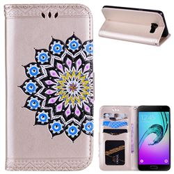 Datura Flowers Flash Powder Leather Wallet Holster Case for Samsung Galaxy A5 2016 A510 - Golden