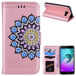 Datura Flowers Flash Powder Leather Wallet Holster Case for Samsung Galaxy A5 2016 A510 - Pink