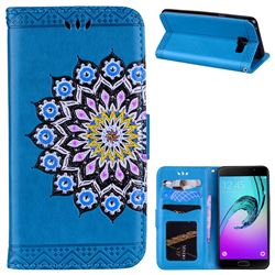 Datura Flowers Flash Powder Leather Wallet Holster Case for Samsung Galaxy A5 2016 A510 - Blue