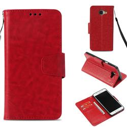 Retro Phantom Smooth PU Leather Wallet Holster Case for Samsung Galaxy A5 2016 A510 - Red