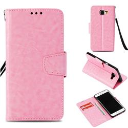 Retro Phantom Smooth PU Leather Wallet Holster Case for Samsung Galaxy A5 2016 A510 - Pink