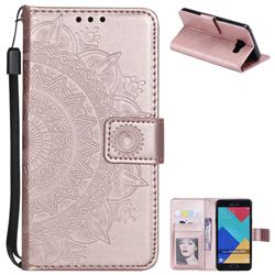 Intricate Embossing Datura Leather Wallet Case for Samsung Galaxy A5 2016 A510 - Rose Gold