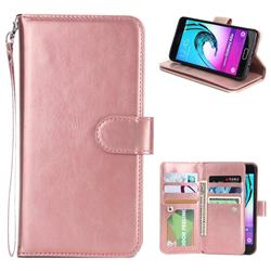 9 Card Photo Frame Smooth PU Leather Wallet Phone Case for Samsung Galaxy A5 2016 A510 - Rose Gold