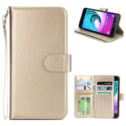 9 Card Photo Frame Smooth PU Leather Wallet Phone Case for Samsung Galaxy A5 2016 A510 - Golden