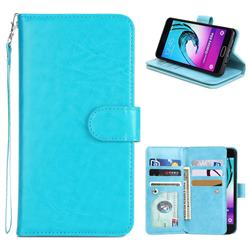 9 Card Photo Frame Smooth PU Leather Wallet Phone Case for Samsung Galaxy A5 2016 A510 - Blue