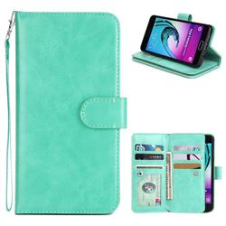 9 Card Photo Frame Smooth PU Leather Wallet Phone Case for Samsung Galaxy A5 2016 A510 - Mint Green