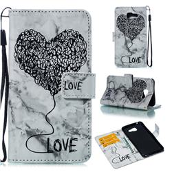 Marble Heart PU Leather Wallet Phone Case for Samsung Galaxy A5 2016 A510 - Black