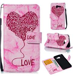 Marble Heart PU Leather Wallet Phone Case for Samsung Galaxy A5 2016 A510 - Red