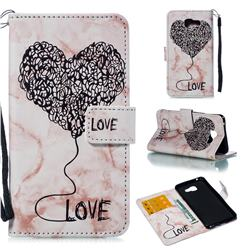 Marble Heart PU Leather Wallet Phone Case for Samsung Galaxy A5 2016 A510 - Purple