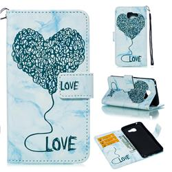 Marble Heart PU Leather Wallet Phone Case for Samsung Galaxy A5 2016 A510 - Blue