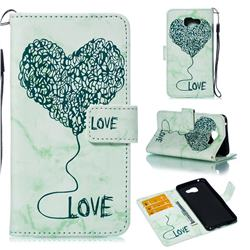 Marble Heart PU Leather Wallet Phone Case for Samsung Galaxy A5 2016 A510 - Green