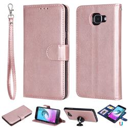 Retro Greek Detachable Magnetic PU Leather Wallet Phone Case for Samsung Galaxy A5 2016 A510 - Rose Gold