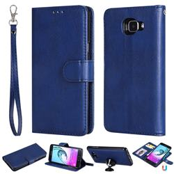 Retro Greek Detachable Magnetic PU Leather Wallet Phone Case for Samsung Galaxy A5 2016 A510 - Blue
