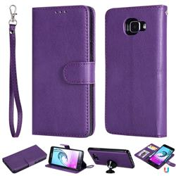 Retro Greek Detachable Magnetic PU Leather Wallet Phone Case for Samsung Galaxy A5 2016 A510 - Purple